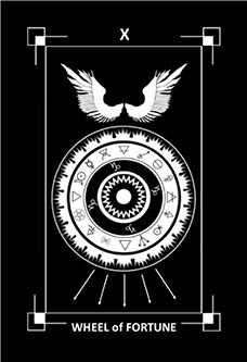 Wheel of Fortune Tarot Card - Dark Exact Tarot Deck