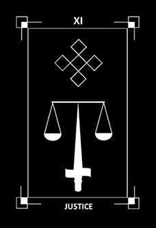 Justice Tarot Card - Dark Exact Tarot Deck