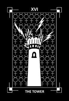 The Falling Tower Tarot Card - Dark Exact Tarot Deck