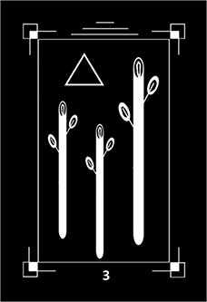 Three of Batons Tarot Card - Dark Exact Tarot Deck