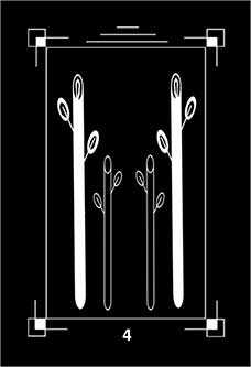 Four of Rods Tarot Card - Dark Exact Tarot Deck