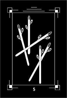 Five of Batons Tarot Card - Dark Exact Tarot Deck
