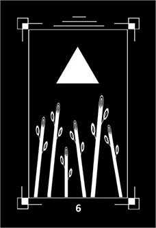 Six of Staves Tarot Card - Dark Exact Tarot Deck