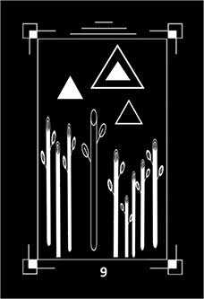 Nine of Pipes Tarot Card - Dark Exact Tarot Deck