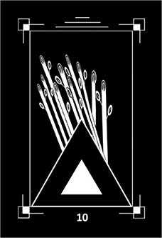 Ten of Batons Tarot Card - Dark Exact Tarot Deck