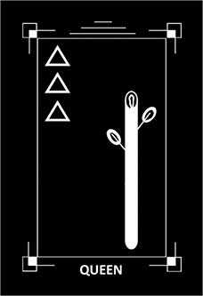 Queen of Rods Tarot Card - Dark Exact Tarot Deck
