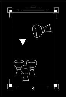 Four of Bowls Tarot Card - Dark Exact Tarot Deck