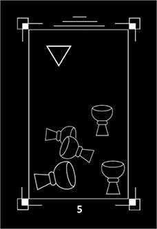 Five of Bowls Tarot Card - Dark Exact Tarot Deck