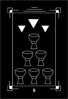 Six of Bowls Tarot Card - Dark Exact Tarot Deck