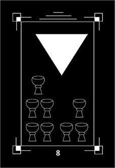 Eight of Bowls Tarot Card - Dark Exact Tarot Deck