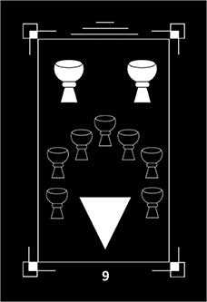 Nine of Bowls Tarot Card - Dark Exact Tarot Deck