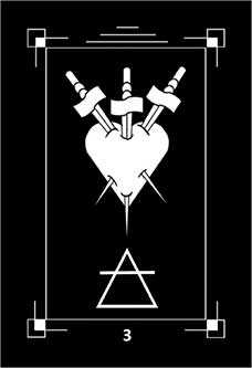 Three of Arrows Tarot Card - Dark Exact Tarot Deck