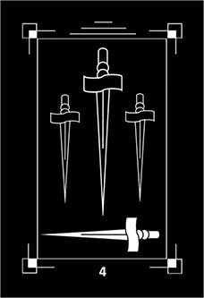 Four of Swords Tarot Card - Dark Exact Tarot Deck