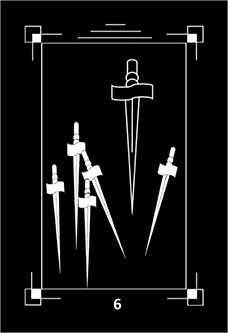 Six of Swords Tarot Card - Dark Exact Tarot Deck