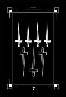 Seven of Arrows Tarot Card - Dark Exact Tarot Deck