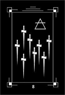 Eight of Arrows Tarot Card - Dark Exact Tarot Deck