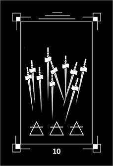 Ten of Arrows Tarot Card - Dark Exact Tarot Deck