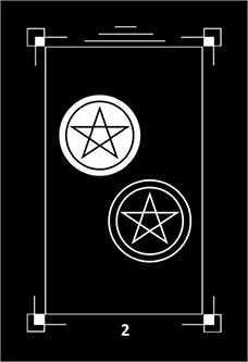 Two of Coins Tarot Card - Dark Exact Tarot Deck
