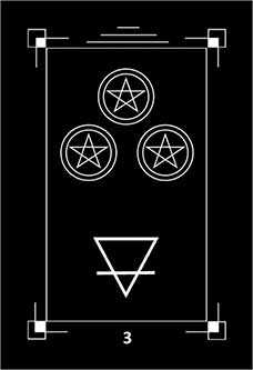 Three of Discs Tarot Card - Dark Exact Tarot Deck