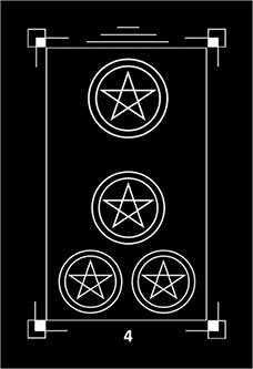 Four of Pentacles Tarot Card - Dark Exact Tarot Deck