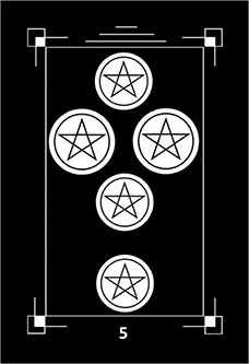 Five of Discs Tarot Card - Dark Exact Tarot Deck