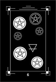 Six of Pentacles Tarot Card - Dark Exact Tarot Deck