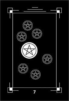 Seven of Coins Tarot Card - Dark Exact Tarot Deck