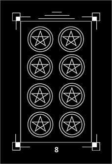 Eight of Coins Tarot Card - Dark Exact Tarot Deck