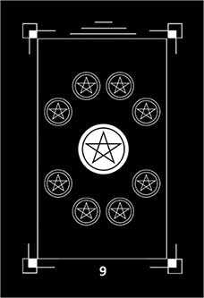 Nine of Coins Tarot Card - Dark Exact Tarot Deck