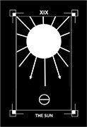 The Sun Tarot card in Dark Exact Tarot deck