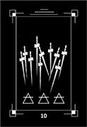 Ten of Swords Tarot card in Dark Exact deck