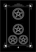 Four of Coins Tarot card in Dark Exact Tarot deck