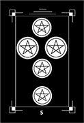 Five of Coins Tarot card in Dark Exact Tarot deck