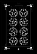 Eight of Coins Tarot card in Dark Exact Tarot deck