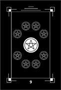 Nine of Coins Tarot card in Dark Exact Tarot deck