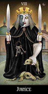 Justice Tarot Card - Deviant Moon Tarot Deck