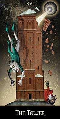The Falling Tower Tarot Card - Deviant Moon Tarot Deck