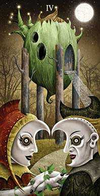 Four of Rods Tarot Card - Deviant Moon Tarot Deck