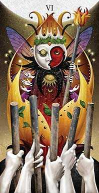 Six of Rods Tarot Card - Deviant Moon Tarot Deck