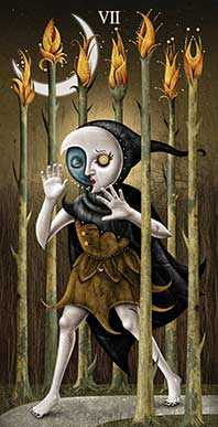 Seven of Rods Tarot Card - Deviant Moon Tarot Deck