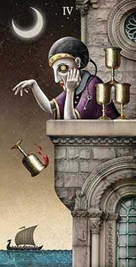 Four of Cauldrons Tarot Card - Deviant Moon Tarot Deck