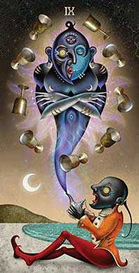 Nine of Cups Tarot Card - Deviant Moon Tarot Deck