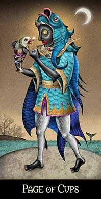 Knave of Cups Tarot Card - Deviant Moon Tarot Deck