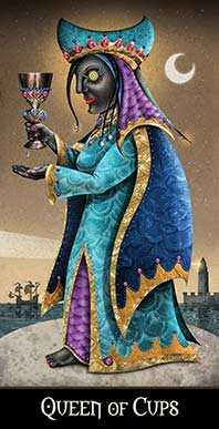 Queen of Bowls Tarot Card - Deviant Moon Tarot Deck