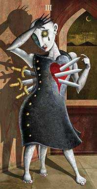 Three of Swords Tarot Card - Deviant Moon Tarot Deck