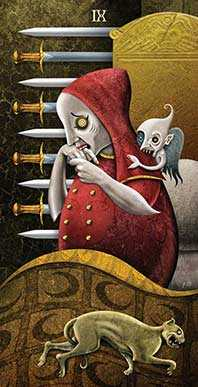 Nine of Swords Tarot Card - Deviant Moon Tarot Deck