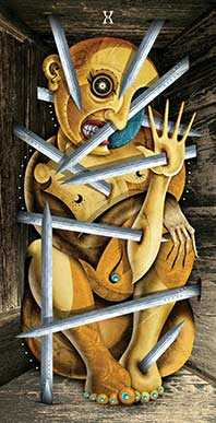 Ten of Swords Tarot Card - Deviant Moon Tarot Deck