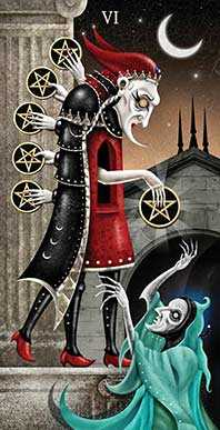 Six of Diamonds Tarot Card - Deviant Moon Tarot Deck