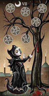 Seven of Coins Tarot Card - Deviant Moon Tarot Deck