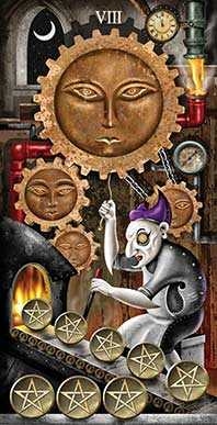 Eight of Coins Tarot Card - Deviant Moon Tarot Deck